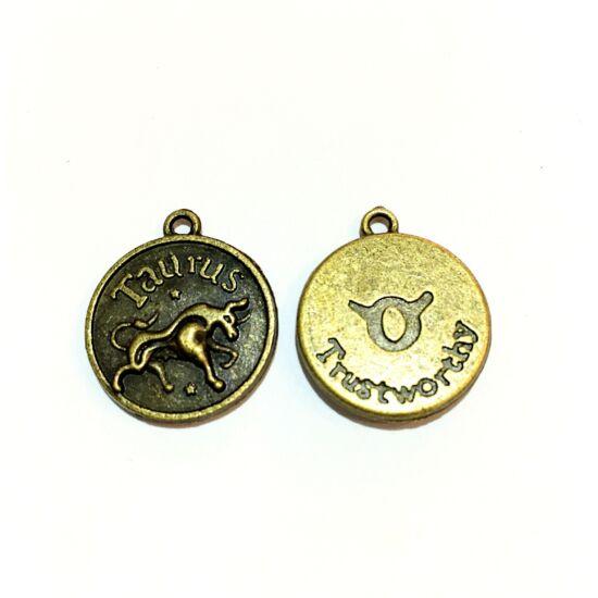 Medál -Bika - Taurus - sárgaréz színben