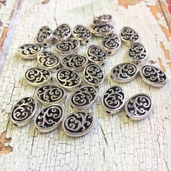 Köztes gyöngy- ovális - növényi motívummal - antik ezüst színben - Nikkelmentes!