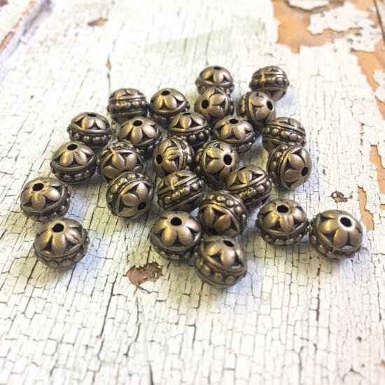 Köztes gyöngy- Gömb - Inda motívummal díszítve - sárgrézt színben - Nikkelmentes!