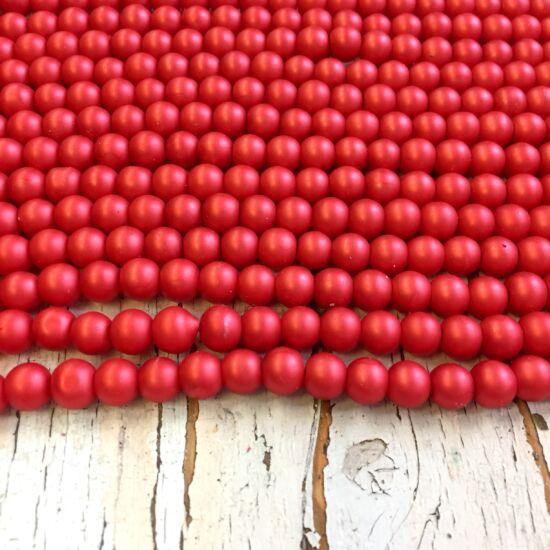 Üveggyöngy - matt - samott-tégla színben - gömb
