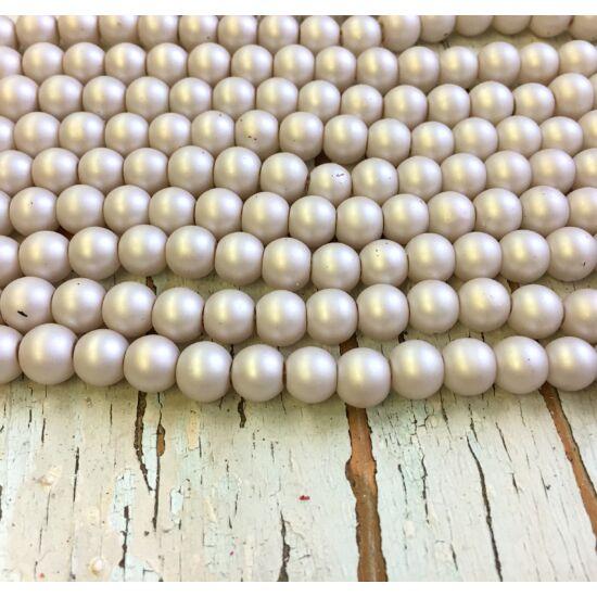 Üveggyöngy - matt - halványszürkés - bézs színben - gömb