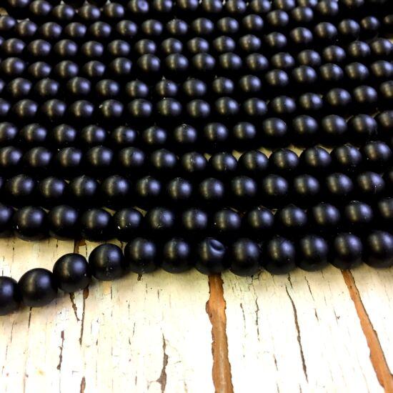 Üveggyöngy - matt - fekete színben - gömb