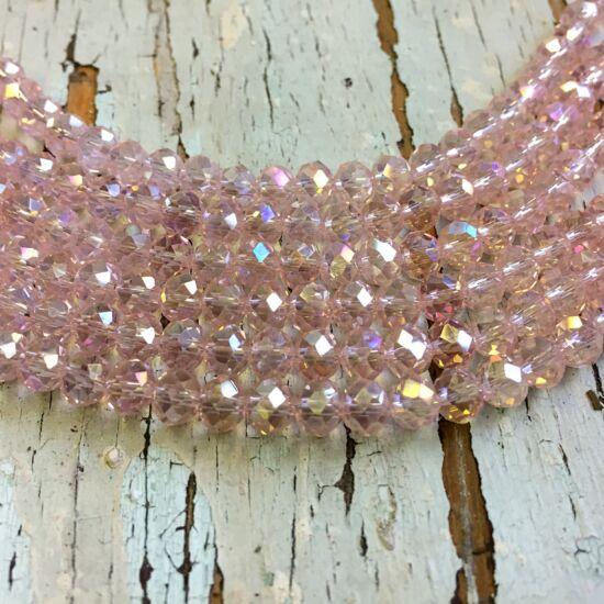 Üveggyöngy - áttetsző - rózsaszín - fánk alakú gyöngy