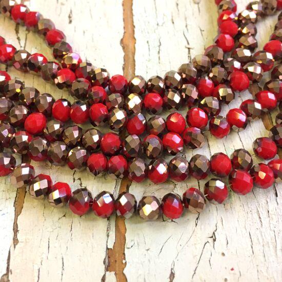 Üveggyöngy - félig piros - félig vörösréz - fánk alakú gyöngy