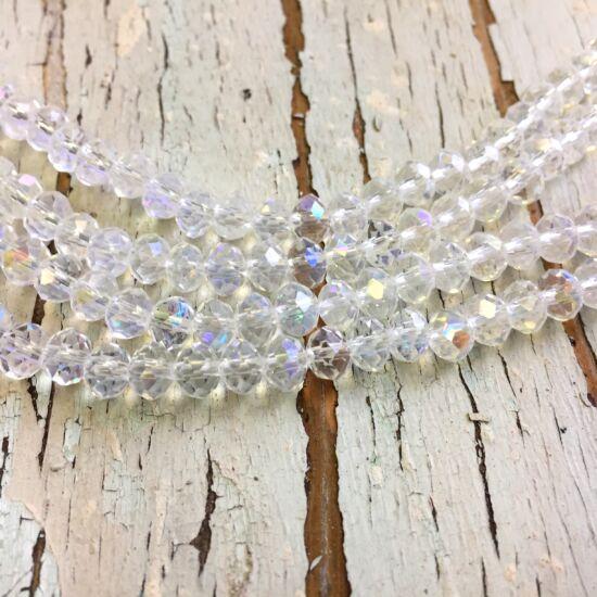 Üveggyöngy - áttetsző - kristály AB - gömb