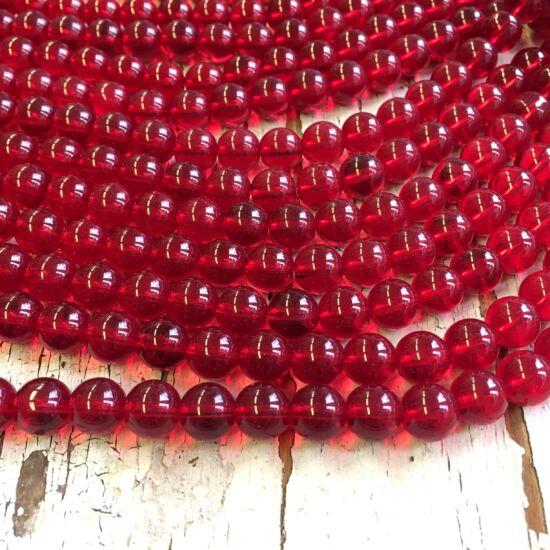 Üveggyöngy - áttetsző - piros -10mm  gömb