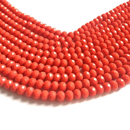 Csiszolt fánk alakú gyöngy - 8x6xmm - telt narancs színben