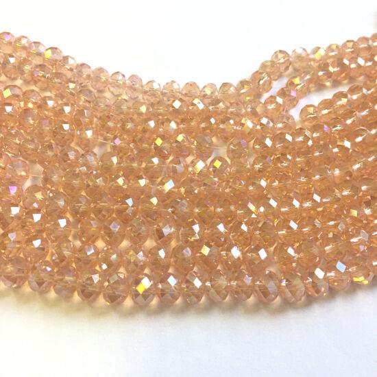 Csiszolt fánk alakú gyöngy - 3x4mm - áttetsző rózsaszín  AB színben
