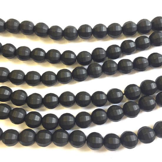 Kerámia gyöngy - 10mm - fazettázott -  matt fekete