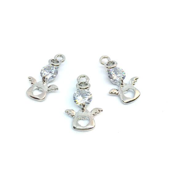 Medál - angyal alaban- cirkónia kővel - platina ezüst színben