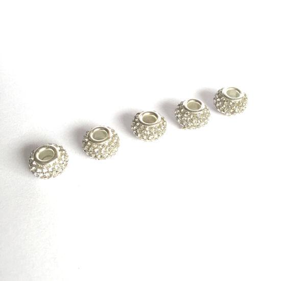 Pandora -strasszos gyöngy, kristály- ezüst színben