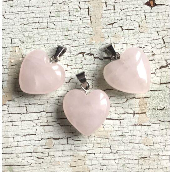 Ásvány szív- Rózsakvarc, ezüst antik színű akasztóval