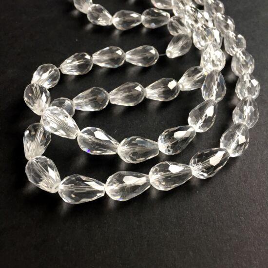 Üveggyöngy - angyalszoknya - 10x15mm - csepp alakú - kristály csiszolt gyöngy