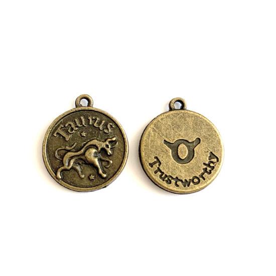 Medál - Horoszkópos - Taurus - Bika - sárgaréz színben
