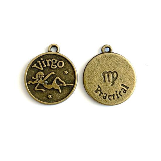 Medál - Horoszkópos - Virgo - Szűz - sárgaréz színben
