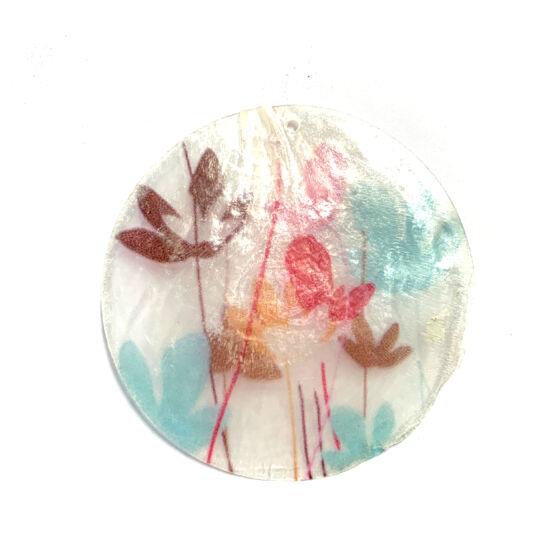 Kagyló - korong - színes virág mintával