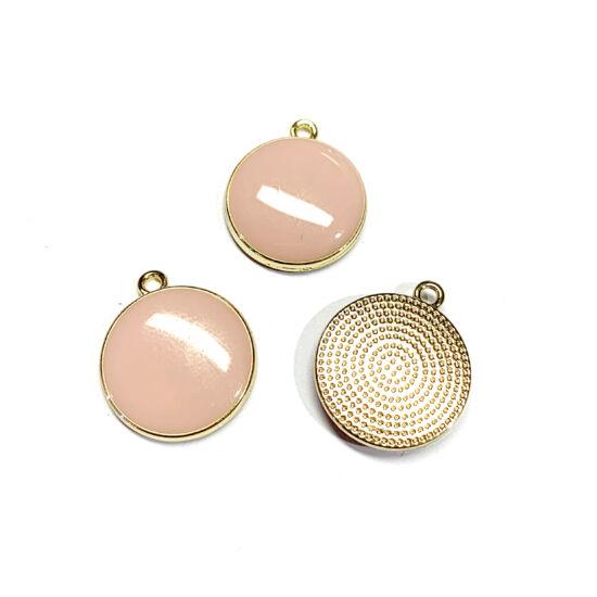 Medál – rózsaszín, zománcos, lapos kerek, világos arany színben 17x15x3.5mm