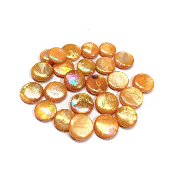 Ásványgyöngy - Kagyló - 10x3x4mm - lapos lencse - Narancs Ab színben