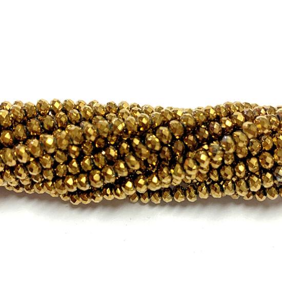 Üveggyöngy - 2x3mm - arany színben - fánk alakú csiszolt