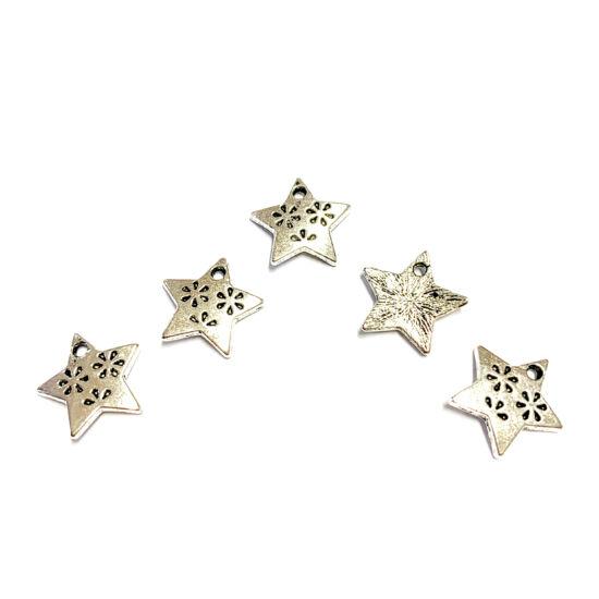 Medál - csillag - antik ezüst színben