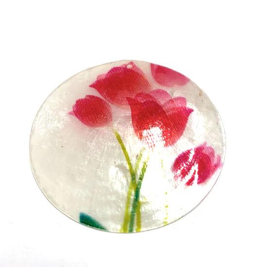 Kagyló - korong - tulipán mintával