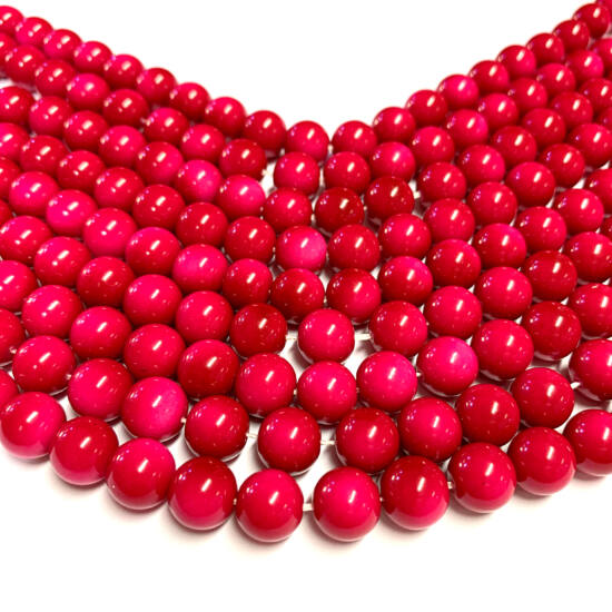 Üveggyöngy - 10mm – Élénk Pink - gömb alakú