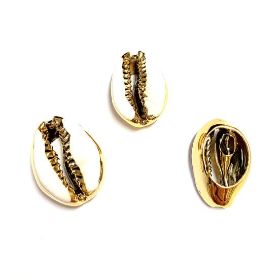 Kagyló – fehér - arany galvanizált - zománcozott