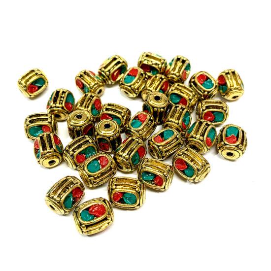 Indonéz gyöngy - 11x9mm - antik bronz és piros - türkiz színben