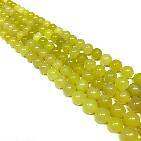 Ásványgyöngy  Jáde - Citromos Lime színben - 8mm