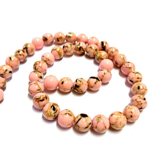 Ásványgyöngy - Természetes tengeri kagyló és szintetikus türkiz gyöngyök - Misztikus rózsaszín színben – 8-9mm