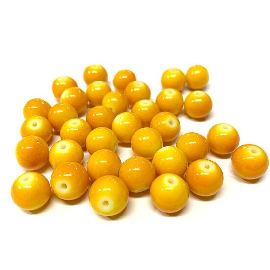 Üveggyöngy - 10mm - Telt sárgás narancs