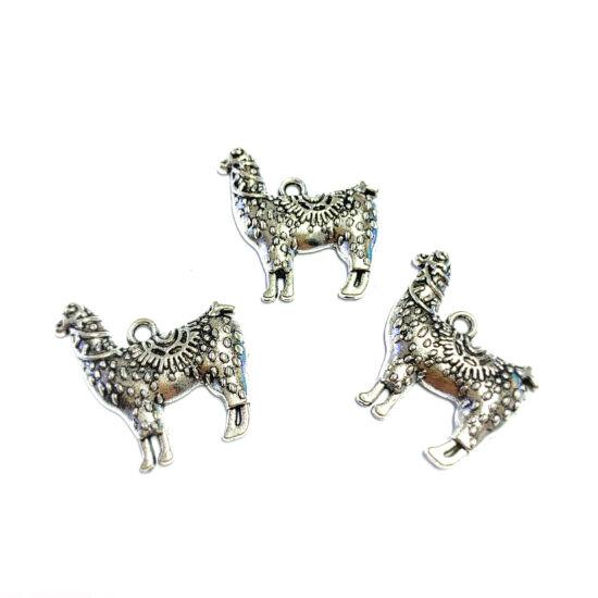 Medál - láma - antik ezüst színben