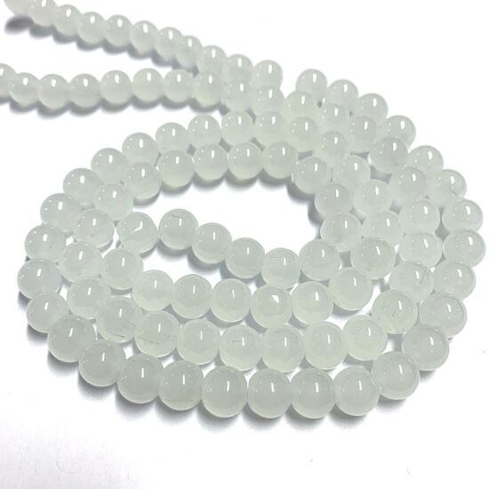 Üveggyöngy – 8-9mm – festett opál fehér – gömb alakban