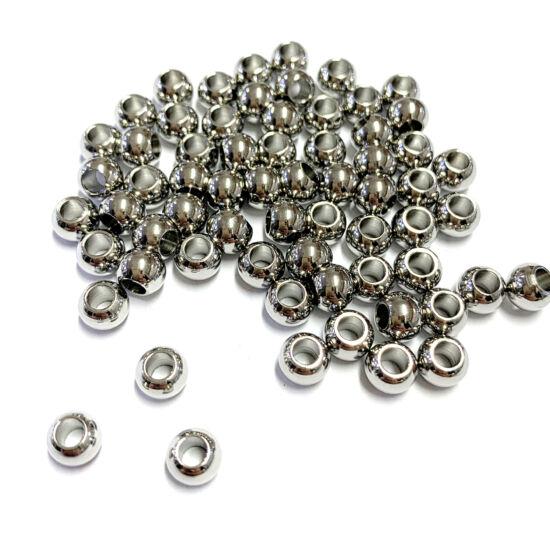 Köztesgyöngy - 6x5mm – platina ezüst színben – gömb alakban - 201 Rozsdamentes Acél!