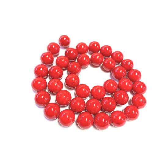 Ásványgyöngy - 8mm – Természetes Piros Mashan Jáde
