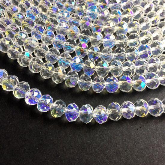 Fánk alakú üveg gyöngy- Crystal AB színben- 8x6mm