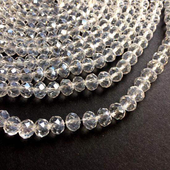 Fánk alakú üveg gyöngy- Crystal színben- 8x6mm