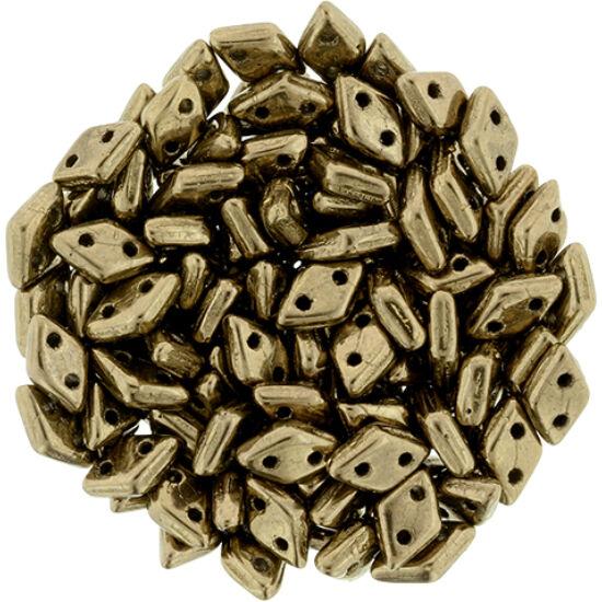 Diamond gyöngy - 2 lyukú - 4x6,5mm - Bronze