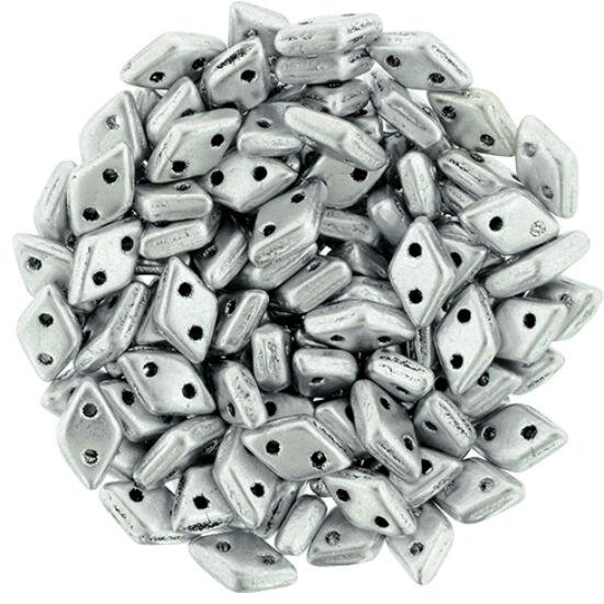 Diamond gyöngy - 2 lyukú - 4x6,5mm - Matte - Metallic Silver