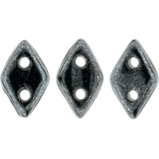 Diamond gyöngy - 2 lyukú - 4x6,5mm - Hematit