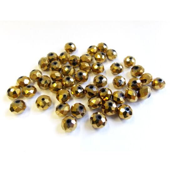 Antik arany színű, fánk alakú üveg gyöngy