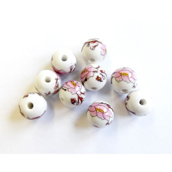 Kerámia gyöngy, fehér alapon rózsaszín- barna mintás