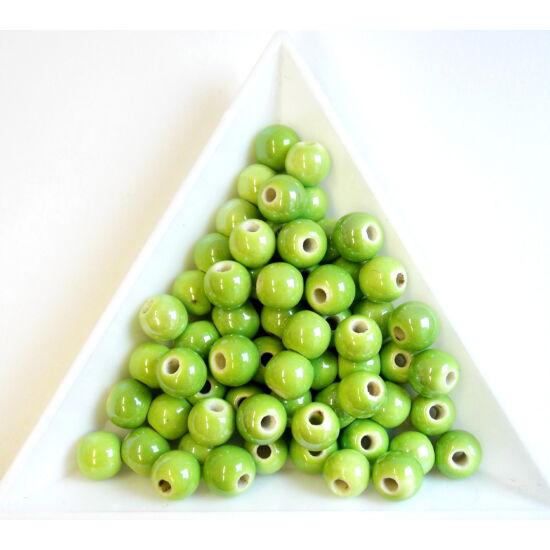 Almazöld színű, gyöngyház fényű kerámia gyöngy