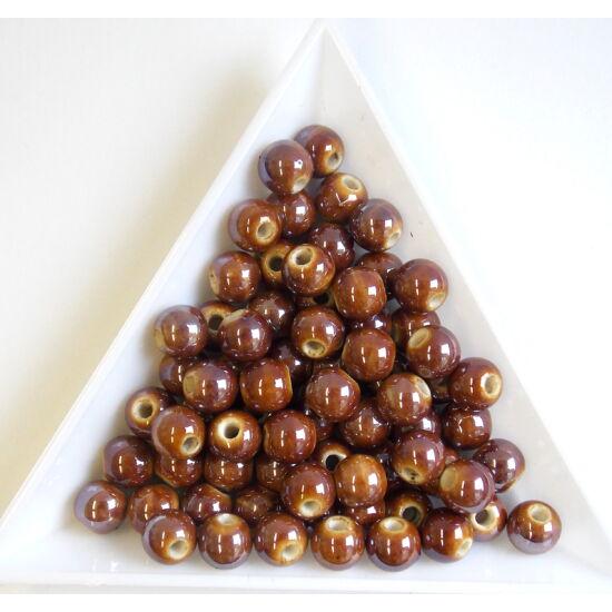 Barna színű, gyöngyház fényű kerámia gyöngy