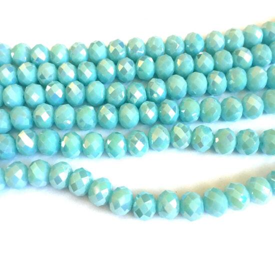 Üveg gyöngy- Fánk alakú- Csillogó Akvamarin színben
