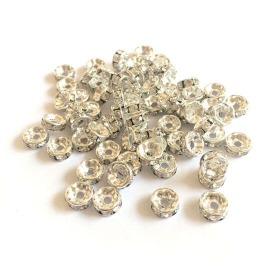 Rondella - kristály strasszos - 8mm - ezüst színű