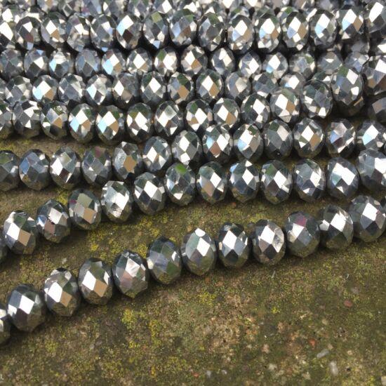 Csiszolt gyöngy- Hematit színű- fánk alakú-  12x8mm