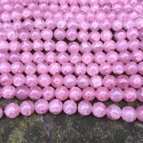 Üveggyöngy- Flamingó színű- robbantott- 10mm