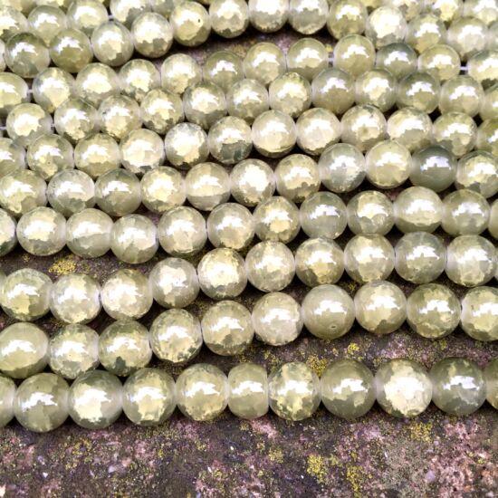 Üveggyöngy- Keki zöld színű- robbantott- 10mm