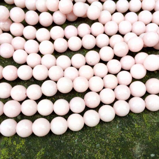 Ásványgyöngy - 8mm - Természetes Mashan Jáde - Halvány Púder színben